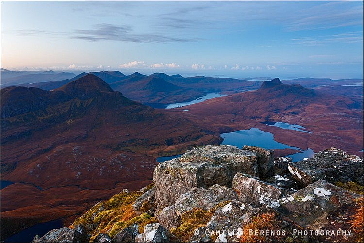 Blue hour in Inverpolly with Cul Beag and Stac Pollaidh seen from Cul Mor