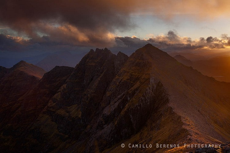 Fiery sky over An Teallach. Typical of Scottish autumnal light, this spectacle in warm golden light as sunset was approaching was over before I knew it. I was glad I got a shot at all, even though I had hoped to squeeze in some compositions with a wider angle!