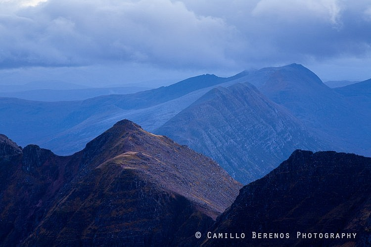 While the wide-angle vista of An Teallach is what draws photographers to visit this fabulous ridge, sometimes it's also nice to create more intimate mountain landscapes. Longer lenses really aid in this respect, and here I used it to create a layered composition with the ridge snaking its way through the frame.