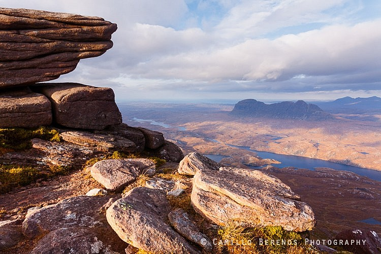 View over Suilven from the summit of Cul Mor.