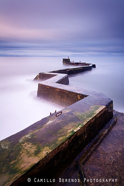 The breakwater at the old picturesque fishing village St Monans on the East Neuk coast in Fife.