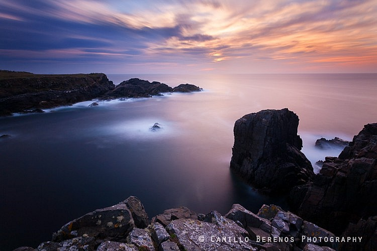 Diffuse evening light looking out over the Atlantic Ocean from the cliffs near Loch Shiaboist on the Isle of lewis