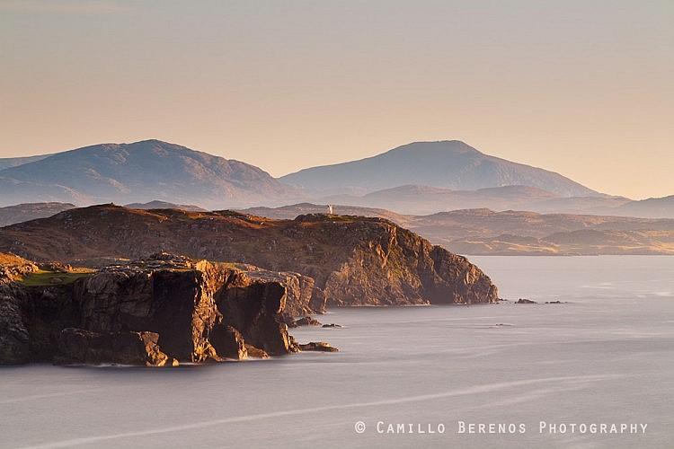 The lighthouse of Aird Laimisiadair perched on the cliffs of the Isle of Lewis