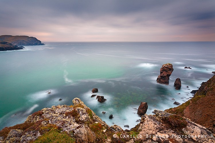 Beautiful sea stacks can be seen from the cliffs above Dail Beag beach on the west coast of the Isle of Lewis.