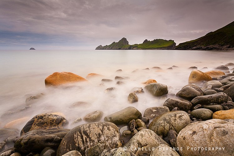 Low tide during late afternoon exposes some beautiful stones on the beach of Village bay, St Kilda