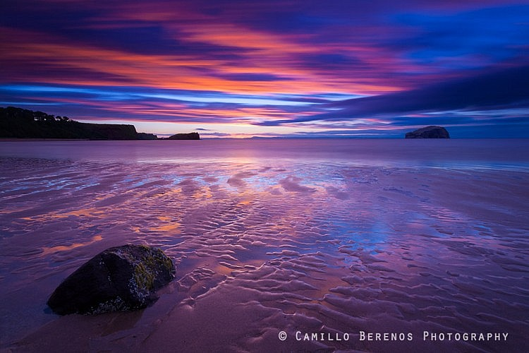 As the tide was going out this rock and the rippled sand made for a great foreground, with the Bass Rock on the horizon. After many heavy showers, the weather turned an hour before sunset, and what a beautiful sunset this was!