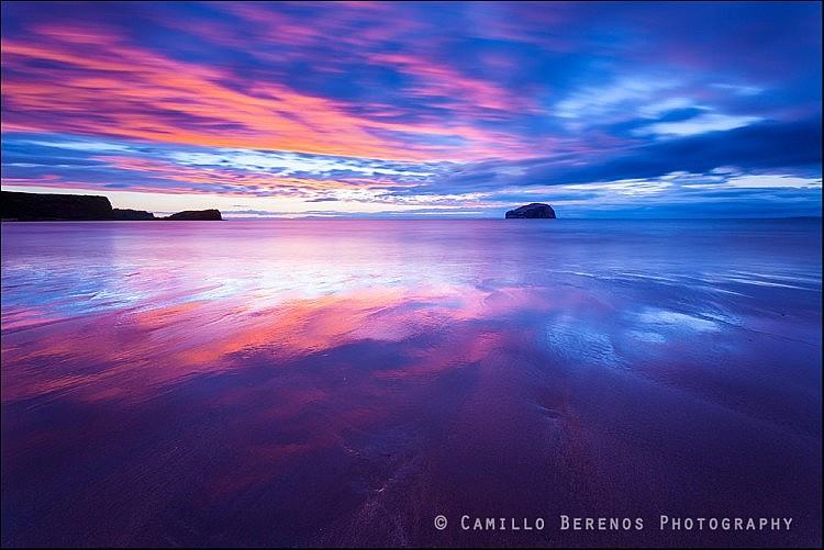 Colourful sunset at Seacliff Beach, East Lothian
