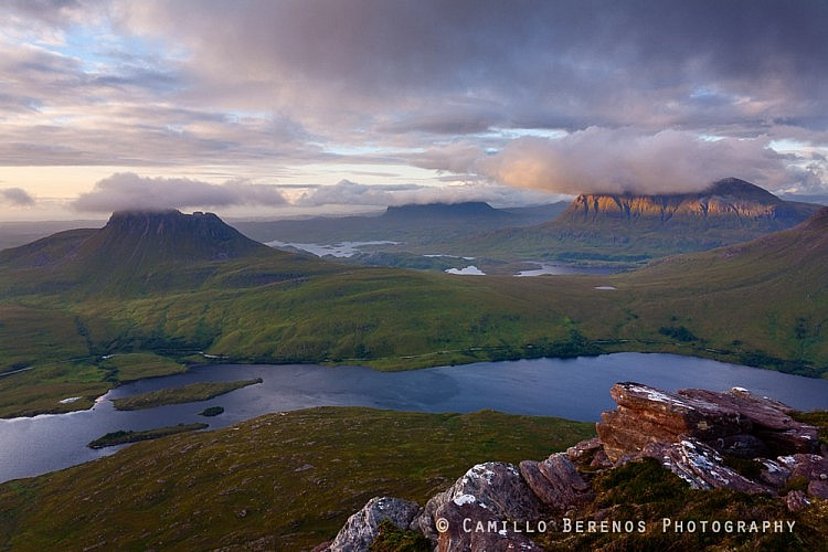 A trio of Inverpolly and Assynt icons: Stac Pollaidh, Suilven and Cul Mor. This is hillwalker's paradise as the views from every single monolithic summit in the region are breathtaking.