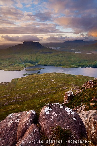 Stac Pollaidh and Suilven rising high above the Inverpolly and Assynt wilderness across Loch Lurgainn.