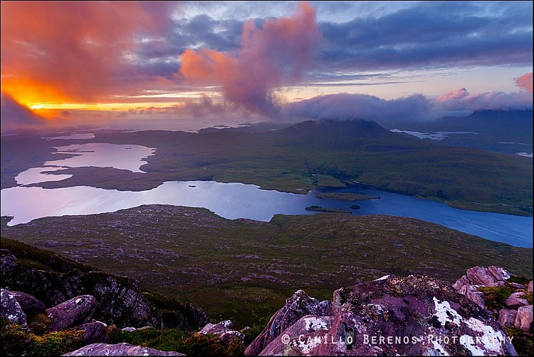 Sunset in Inverpolly with a view of Stac Pollaidh